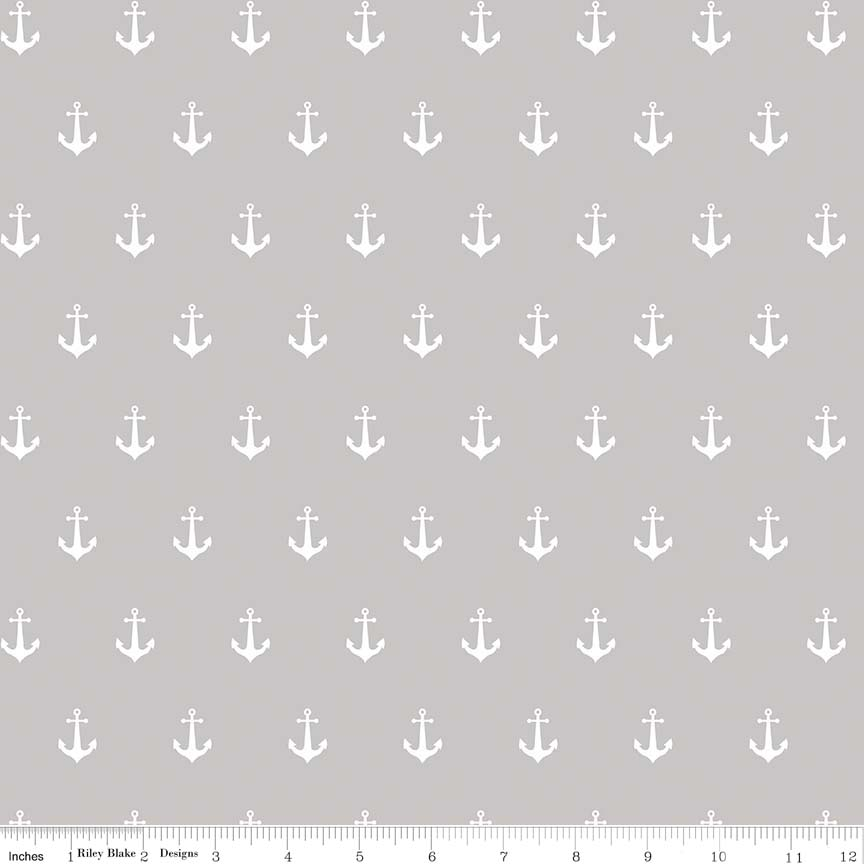 ANCHORS GRAY IN DOUBLE GAUZE