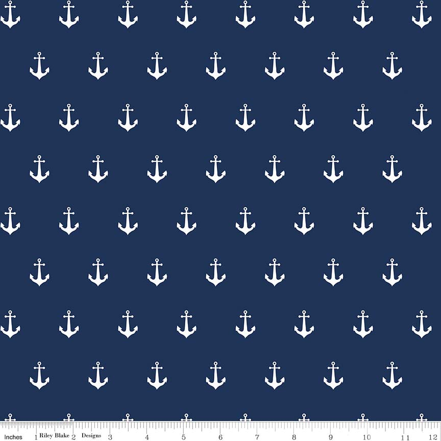 ANCHORS NAVY IN DOUBLE GAUZE