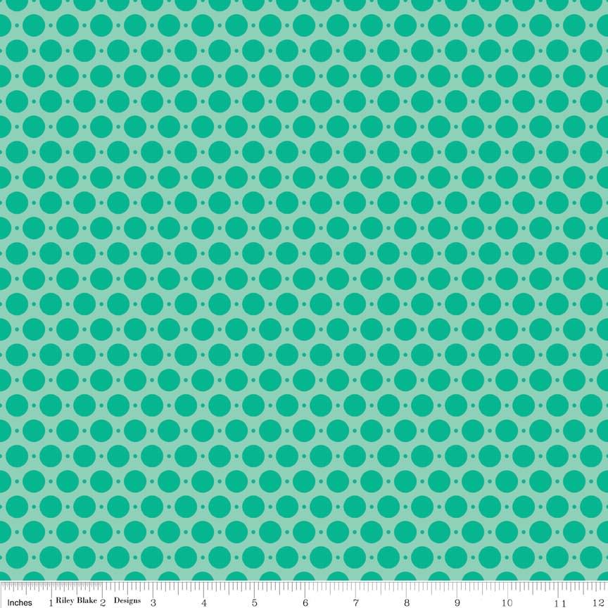 Item#9005.A - Sweet Dots Teal Home Dec Cotton Duck Cloth  - Riley Blake - Zoe Pearn - Bolt# 9005.A