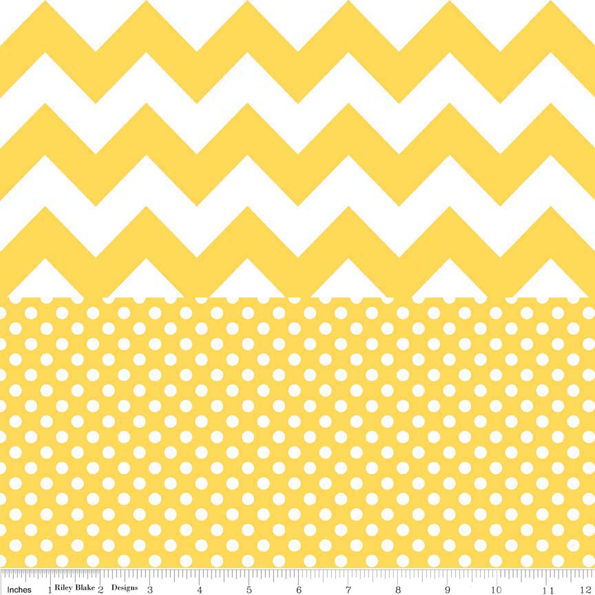Quilted Cotton Medium Chevron Yellow W/ Small Dot Yellow