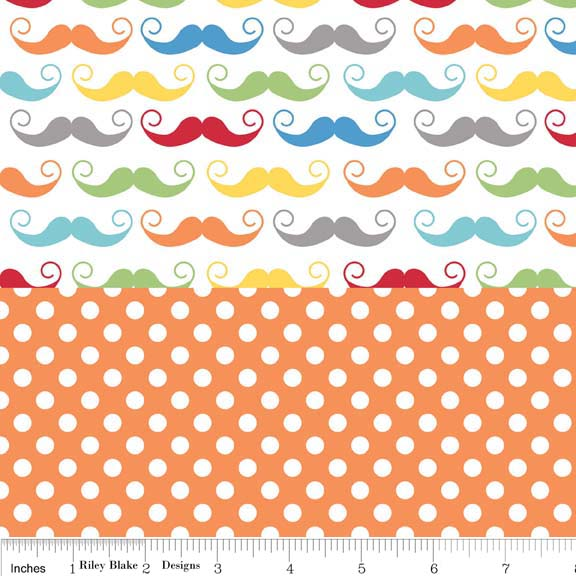 Quilted Cotton Mustaches White Multi W/ Small White Dot on Orange