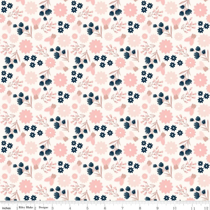 Blush Sparkle Floral Floral Cream