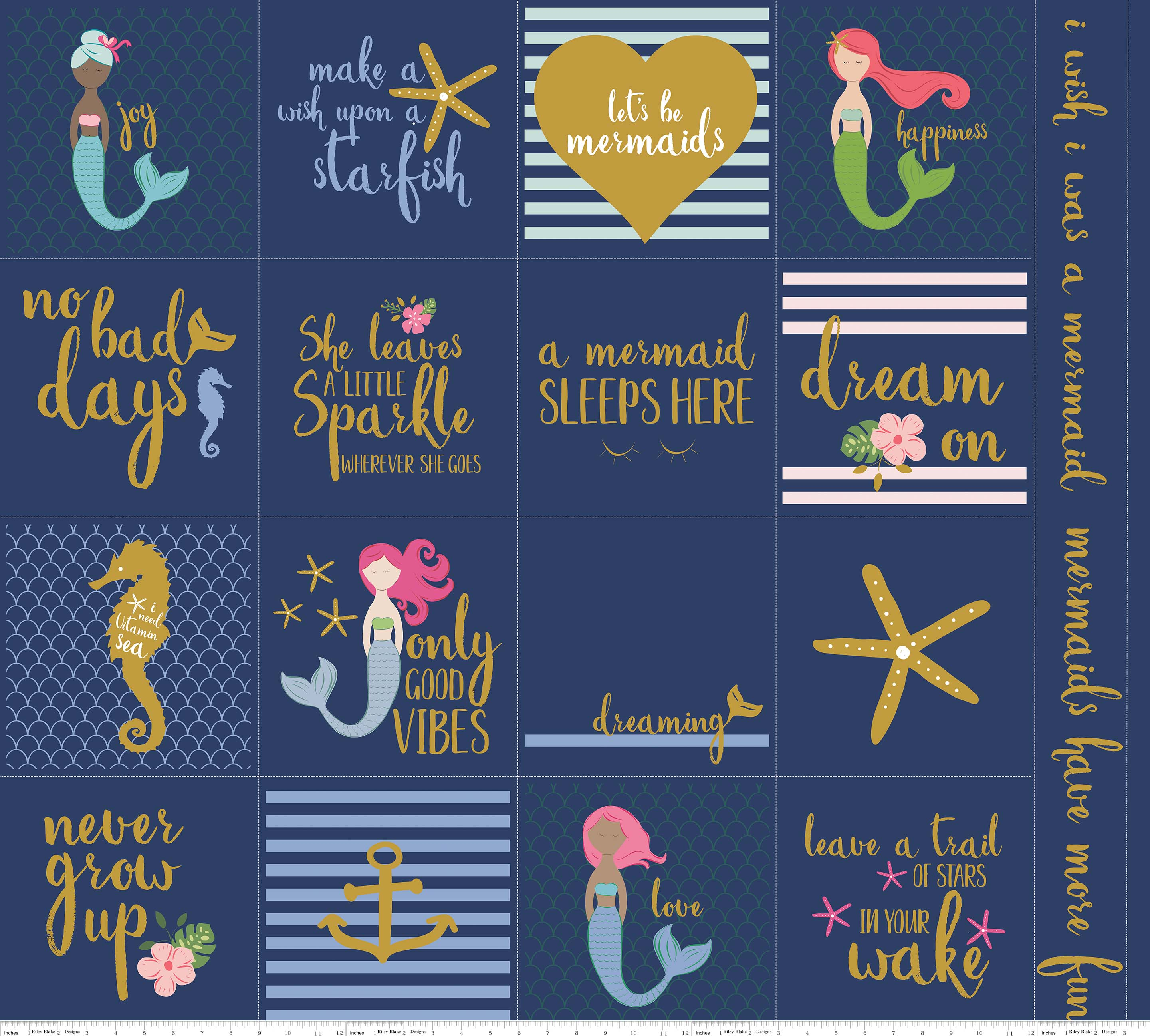 Let's Be Mermaids Panel (Gold is Gold Sparkle) SP7616-NAVY