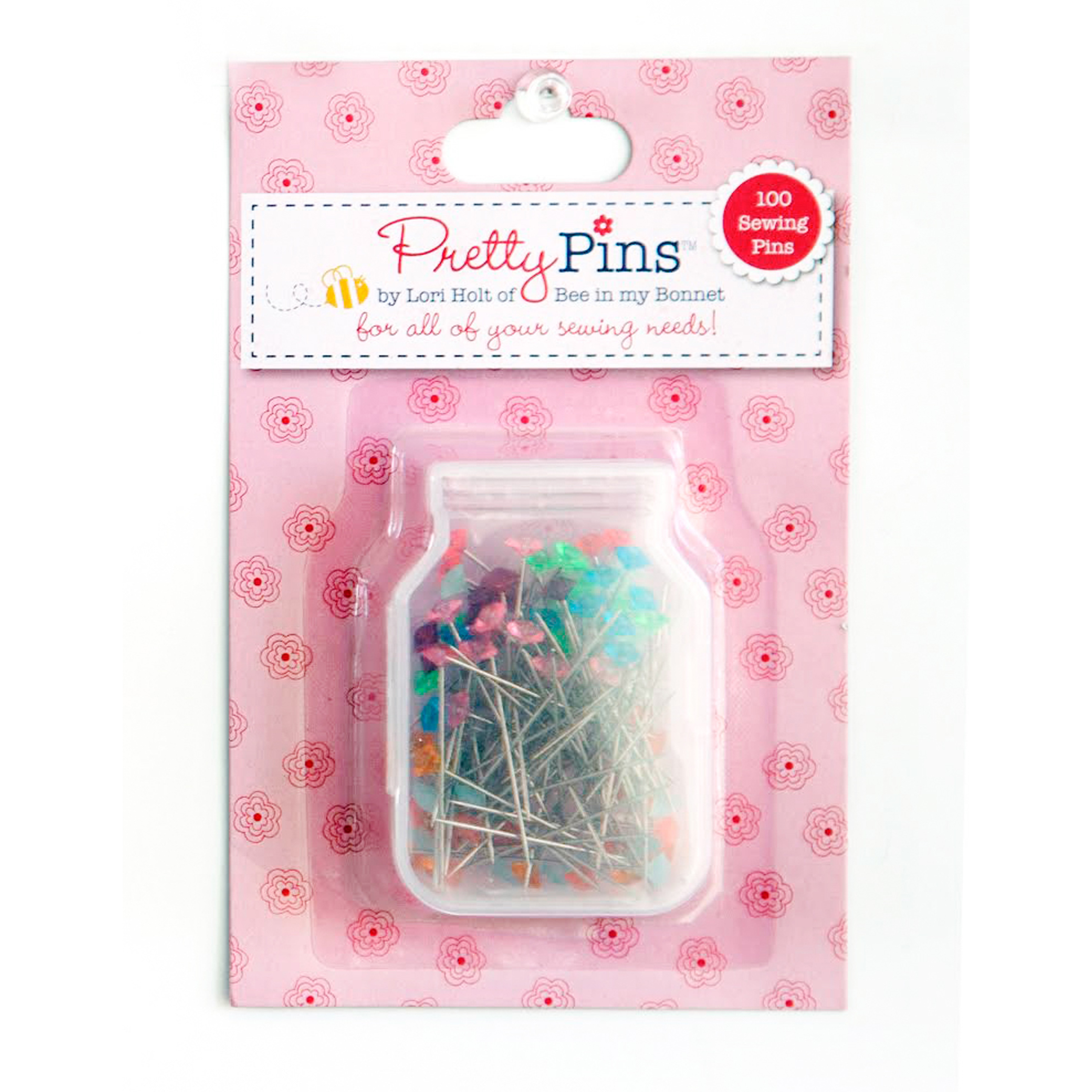 100 Sewing Pins 10 Assorted Colors