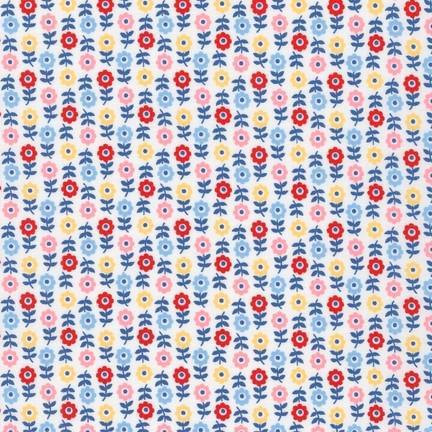 Robert Kaufman: Floral  Penny's Dollhouse LAKE 100% COTTON