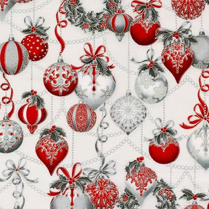 Peggy Toole Holiday Flourish 8 SILVER 100% COTTON