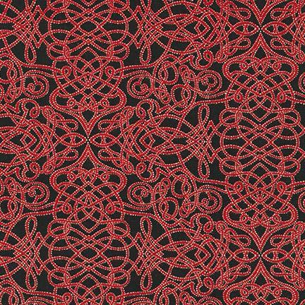 Holiday Flourish Black and Red Swirls