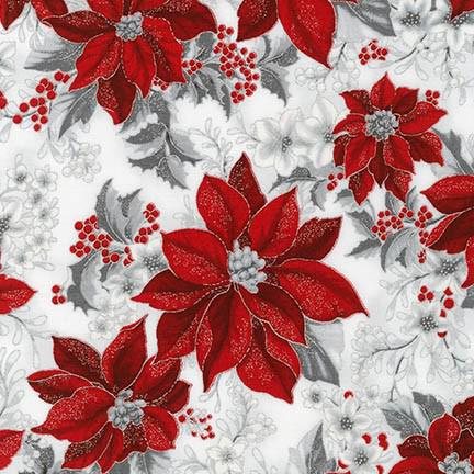 Holiday Flourish 8 SILVER Poinsettia