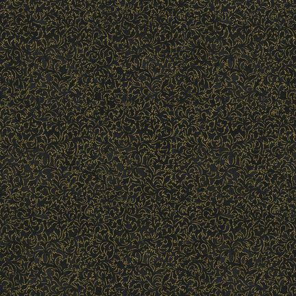 Robert Kaufman Fusions 11 6644-2 Black Metallic (Gilded Blooms)
