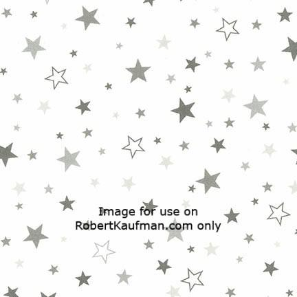 Cozy Cotton White with Grey Stars Robert Kaufman