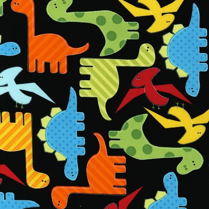 Black with Multi-colored Dinosaurs