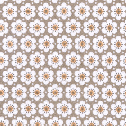 Fleurie TAUPE Flowers FLANNEL