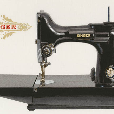 2/3 yd PANEL Sewing with Singer AGZM-17845-199 ANTIQUE