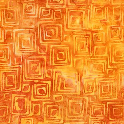 Retro Metro 2 Orange Squares Batik