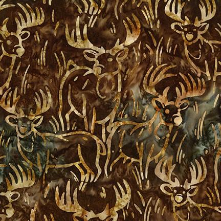 Kaufman Artisan Batiks Wildlife Sanctuary 6 Deer Brown