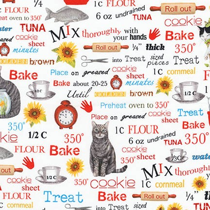 Everyday Favorites - Cats and Words, AMK-17095-1 WHITE by Mary  Lake - Thompson for Robert Kaufman Fabrics