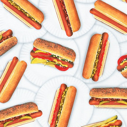 Chow Time Hot Dogs Fabric by the Yard