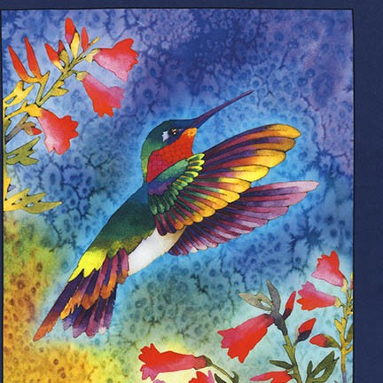 Andover 17300-195 BRIGHT by Nancy  Duell - Digitally printed Hummingbird Panel
