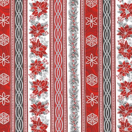 Robert Kaufman - Holiday Flourish 11-Border Print-Red/Silver - APTM-17339-186