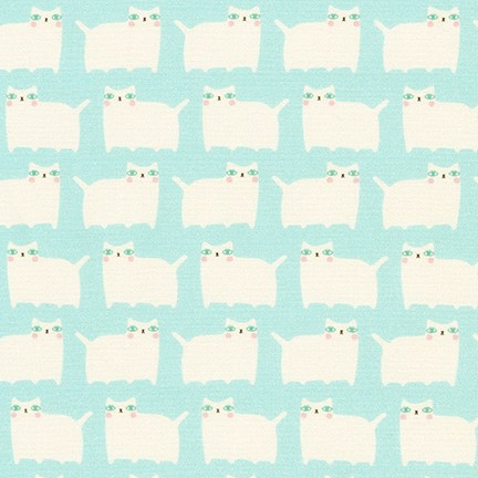 Cream Cats on Aqua: Suzy's Minis by Suzy Ultman for Robert Kaufman