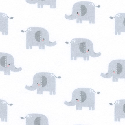 Elephants Welcome Baby Grey Flannel