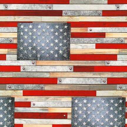 Farmhouse Plank Flags AMERICANA Fabric by the Yard
