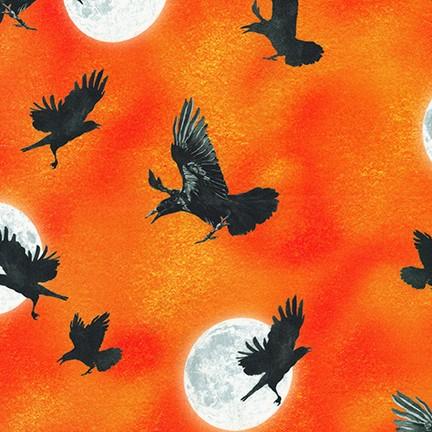 Raven's Moon - Ravens and Full Moon, Orange AWHD-19488-148 - by Lynnea Washburn for Robert Kaufman