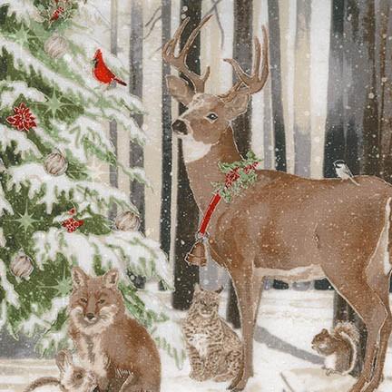 Robert Kaufman Winter White 3 AWHM-17371-88 Ice Wildlife & Christmas Tree Panel