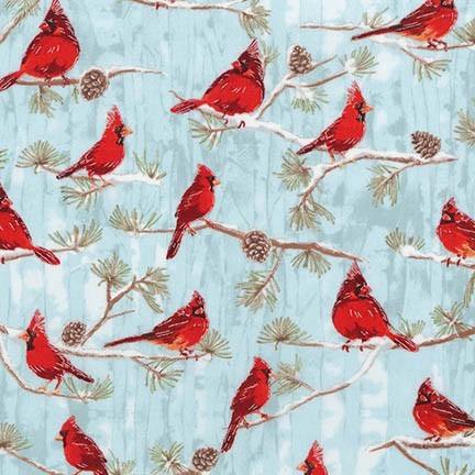 Winter White Red Cardinals in Winter by Robert Kaufman Fabrics