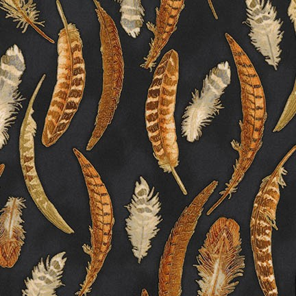 Robert Kaufman Shades of the Season 11 AWHM-17455-2 Black with Pheasant Feathers Metallic