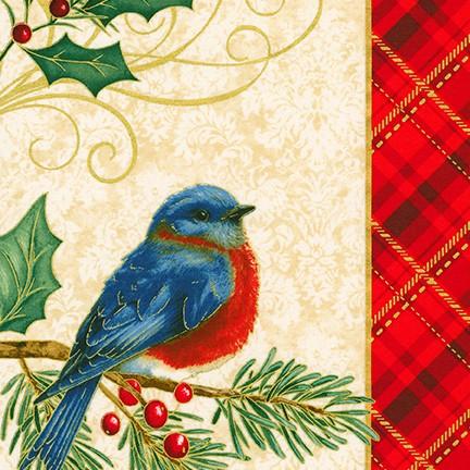 Holiday Cardinal panel on gold - Winter's Grandeur 8 by Robert Kaufman Fabrics