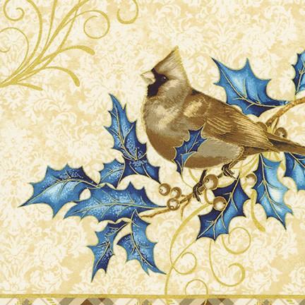Blue Cardinals on Gold Panel- Winter's Grandeur 8 by Robert Kaufman Fabrics
