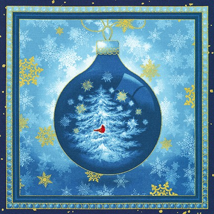 Winter's Grandeur 8 Panel BLUE ornaments by Liza Bea Studio
