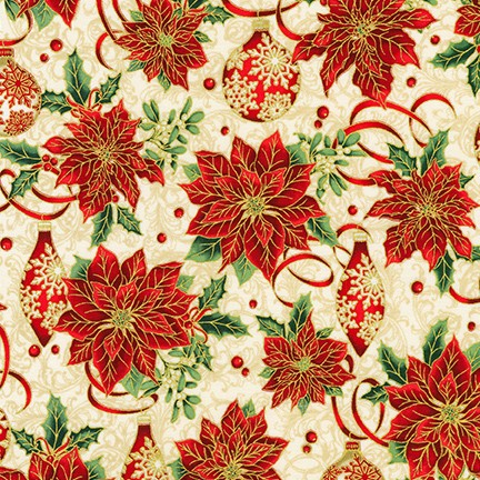 Winter's Grandeur Metallic Poinsettia and Ornaments