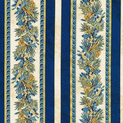 Robert Kaufman Winter's Grandeur 8 AXBM-19336-4 Blue/metallic stripe