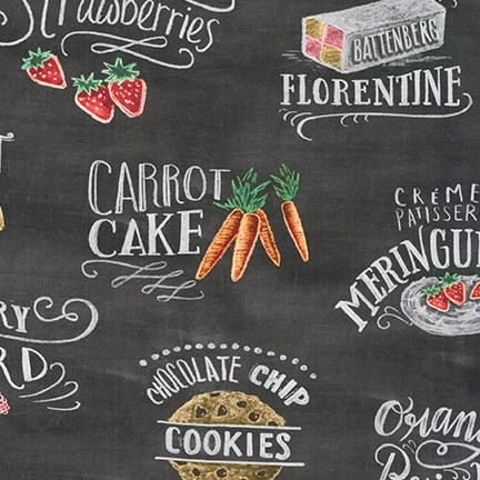 Metro Cafe - Text Charcoal Chalkboard - By Lily & Val For Robert Kaufman Fabrics