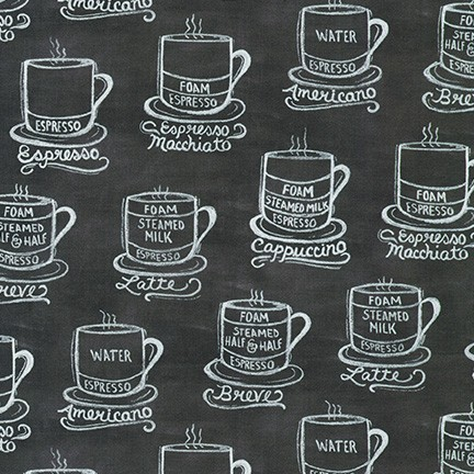 Metro Cafe - Charcoal Cups - By Lily & Val For Robert Kaufman Fabrics
