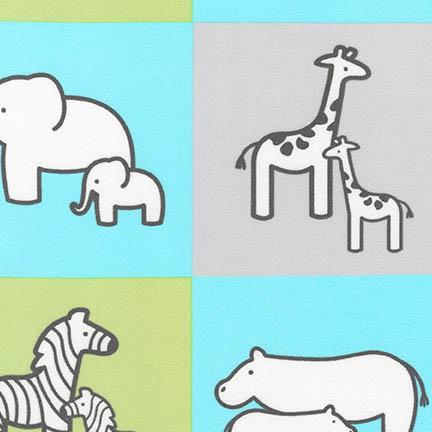 Aqua Animal Patches   Little Safari 2 Flannel Fabric by Patricia Zapata