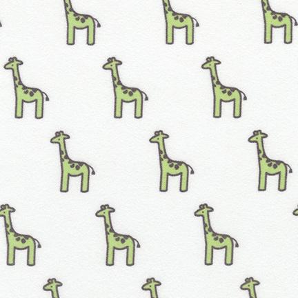 Pistachio Tiny Giraffes | Little Safari 2 Flannel Fabric by Patricia Zapata