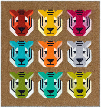 Antonia Tiger Quilt Kit, 52inx55in, featuring Library Fabric by Elizabeth Hartman for Robert Kaufman