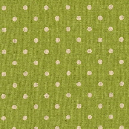 Sevenberry Canvas Lime and Natural Polka Dots