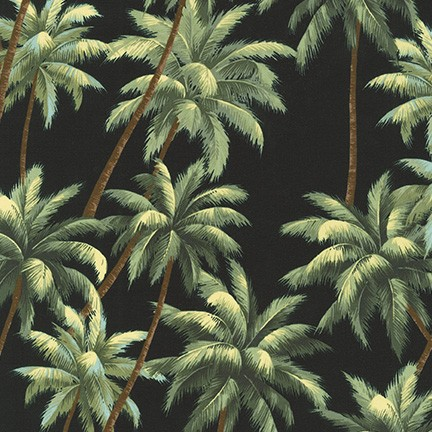SB-IT4004-4 BLACK Ecovero 60/40 Cotton/RAYON Aloha Prints 54 Wide Robert Kaufman