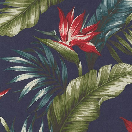 SB-IT4006-4 Navy RAYON Ecovero Aloha Prints 60% Cotton 40% RAYON 54 Wide Robert Kaufman