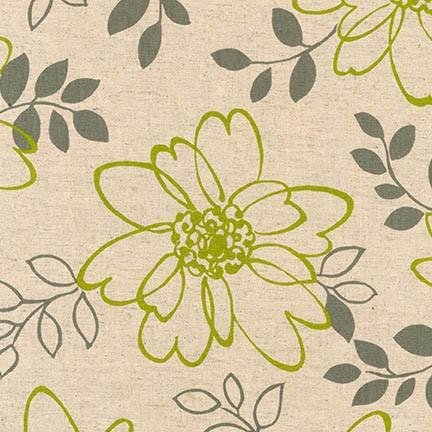 Sevenberry Lime Canvas Cotton/Flax Floral Print