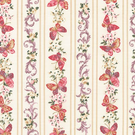 Pink and Purple Floral Stripes on Cream with Pink Butterflies:  Lady Elizabeth by Robert Kaufman