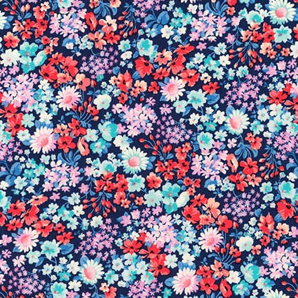 Floral London Calling Blue Cotton Lawn