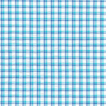 Turquoise Cote D'Azur Seersucker Fabric by Robert Kaufman