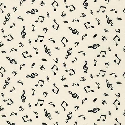 On The Lighter Side  Music Notes on Ivory Fabric by the Yard
