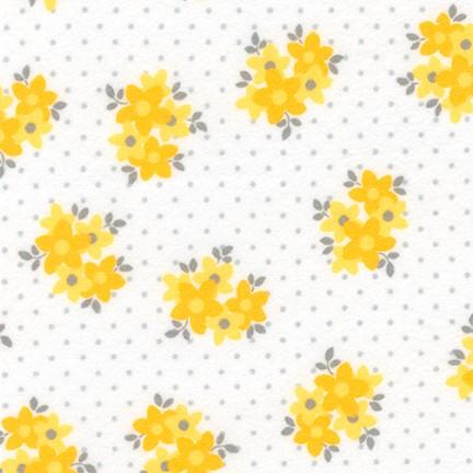 F-CB-ROK-COZ-01 Robert Kaufman-Cozy Cotton Flannel-01-Yellow Flowers