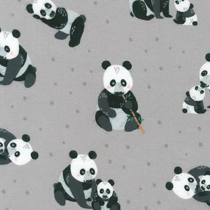 Cuddly Crew Flannel - Pandas GREY